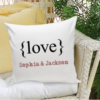 Personalized Love Brackets Couples Pillow