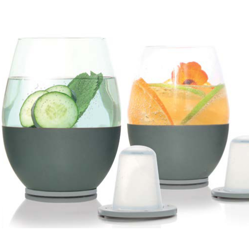 Soiree Self Chilling Stemless Wine Glasses (set of 2)