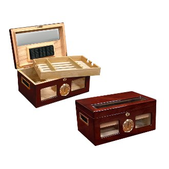 The Valencia 120 Ct. Lacquer Cigar Humidor w/ Beveled Glass