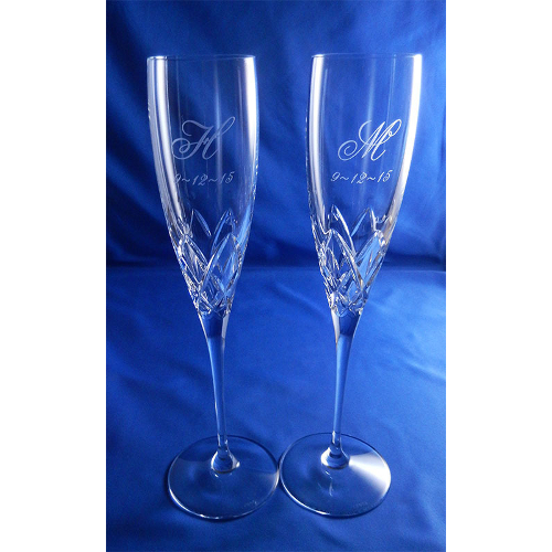 Personalized Lenox Venetian Lace Crystal Toasting Flutes (set of 2)