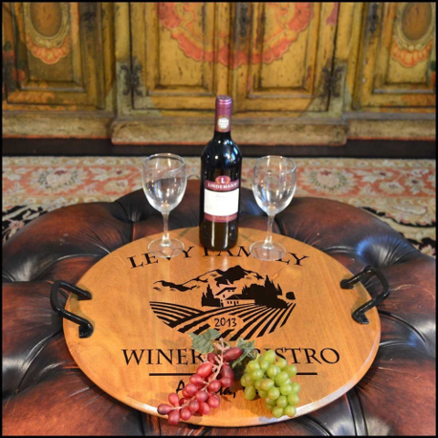 Personalized Barrel Head Serving Tray with Vineyard