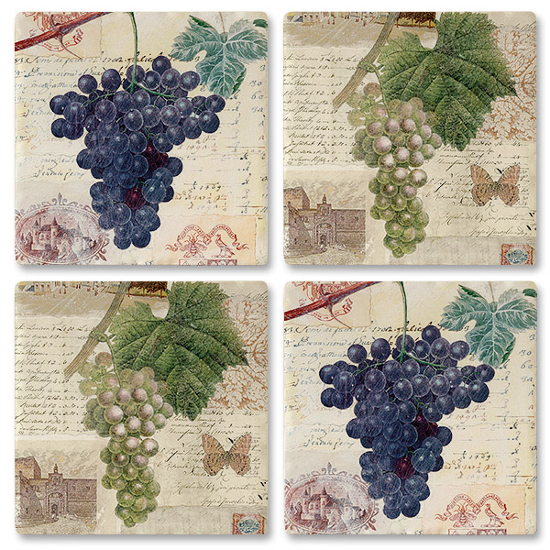 Vineyard Postcard Grape Bunch Coasters