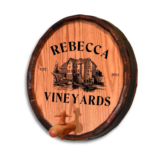 Personalized Vineyards Quarter Barrel Sign