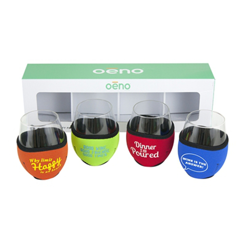 Vino Hugs and Glasses Wine Sayings Party Pack (set of 4)