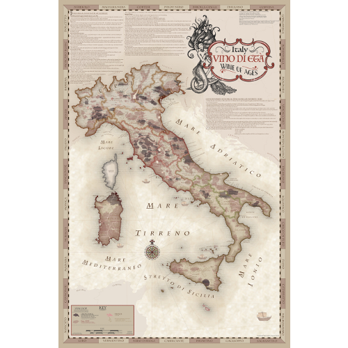 Vino di Eta Wine Regions of Italy Map with Mermaid Cartouche
