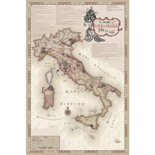 Vino di Eta Wine Regions of Italy Map with Mermaid Cartouche