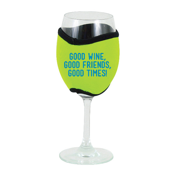 Neoprene Insulating Wine Glass Hug, Good Wine