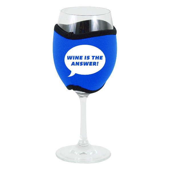 Neoprene Insulating Wine Glass Hug, Wine is the Answer