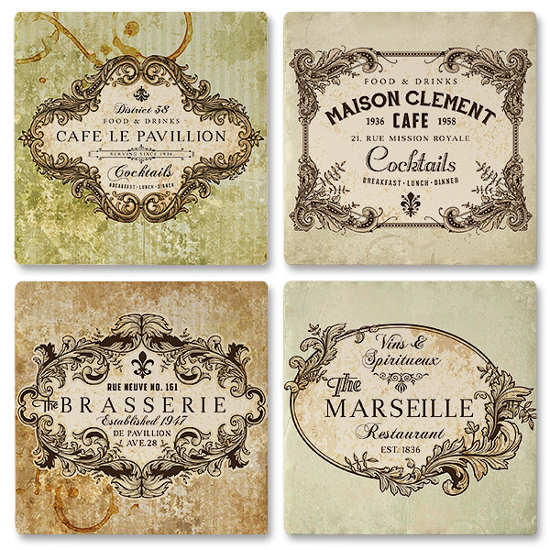 Vintage Labels Ceramic Drink Coasters (set of 4)