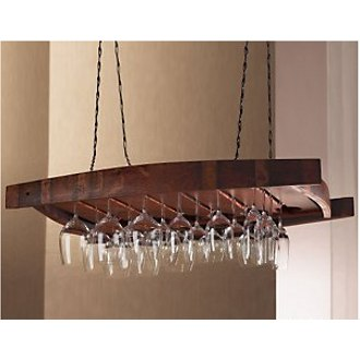 Vintage Oak Hanging Wine Glass Rack