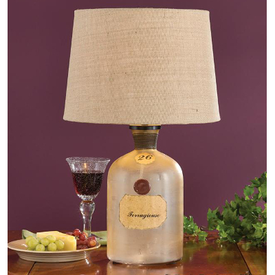 Vintage Wine Bottle Lamp with Shade