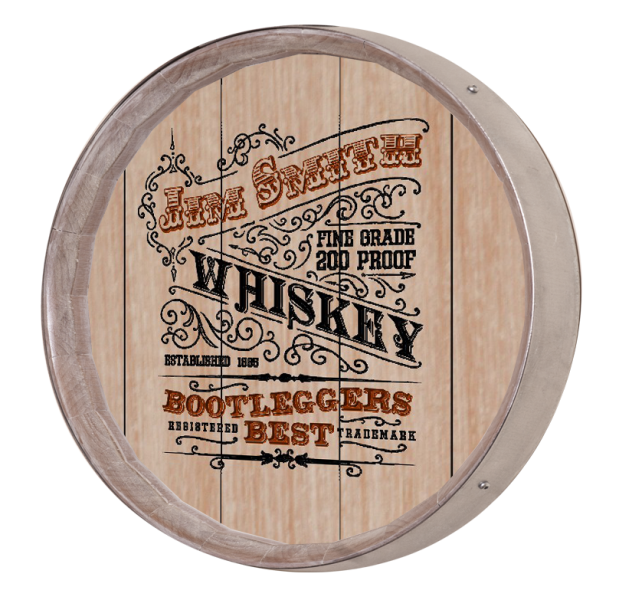 Personalized Vintage Whiskey Label Barrel Sign