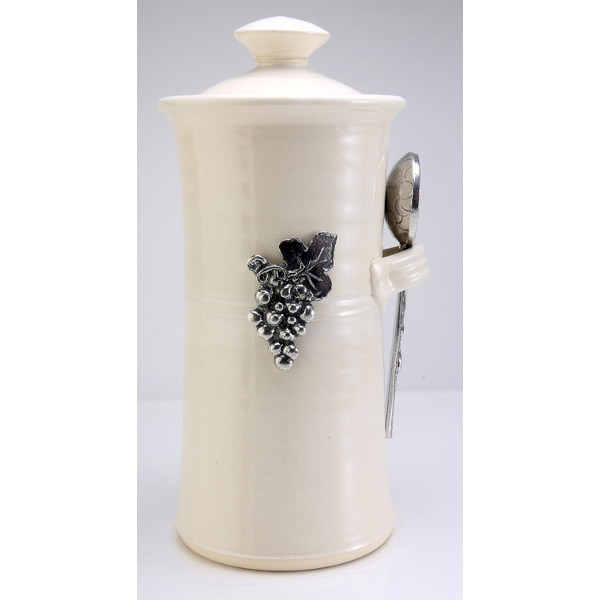 Vineyard Stoneware Coffee Canister with Pewter Scoop