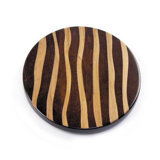 Artisan Wood Wavy Strips Lazy Susan