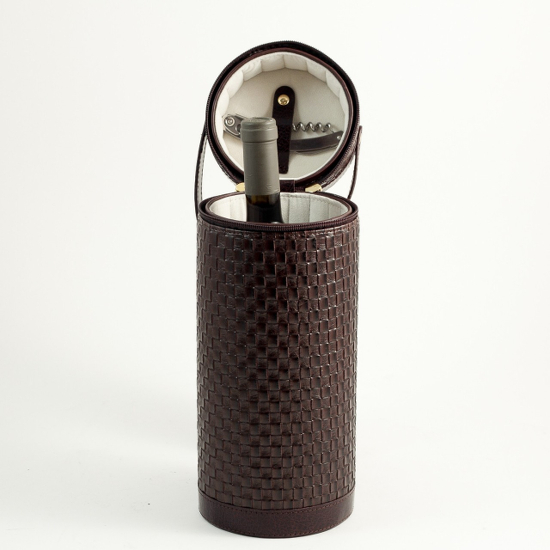 Weaved Leather One Bottle Wine Case with Corkscrew