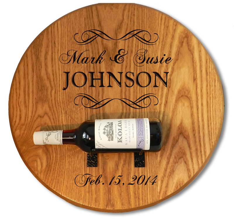Custom Wine Barrel Head w/ Bottle Holder