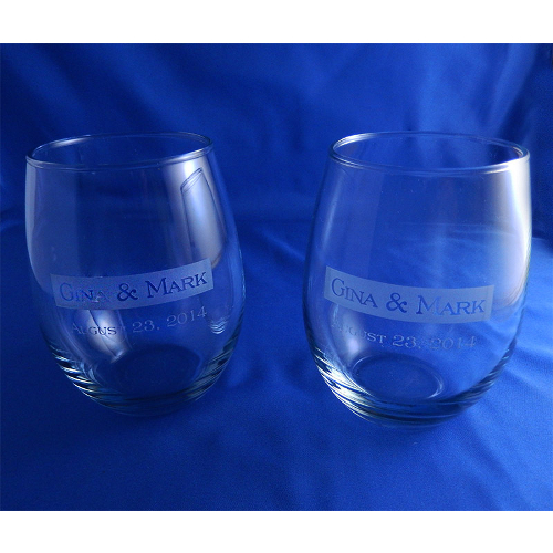 Personalized Etched Wedding Band Stemless Wine Glasses (set of 2)