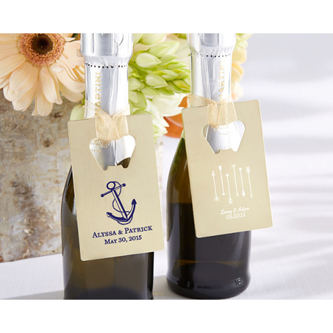 Customized Gold Wedding Credit Card Bottle Openers (set of 36)