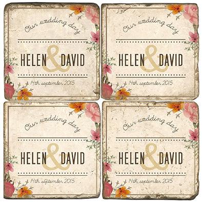 Floral Wedding Namedrop Marble Coasters (set of 4)