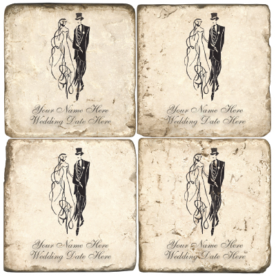 Wedding Bride and Groom Marble Coasters