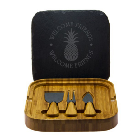 Welcome Friends Square Cheese Set with Tools