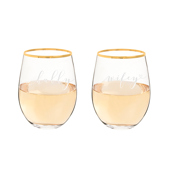 Hubby & Wifey Gold Rim Stemless Wine Glasses