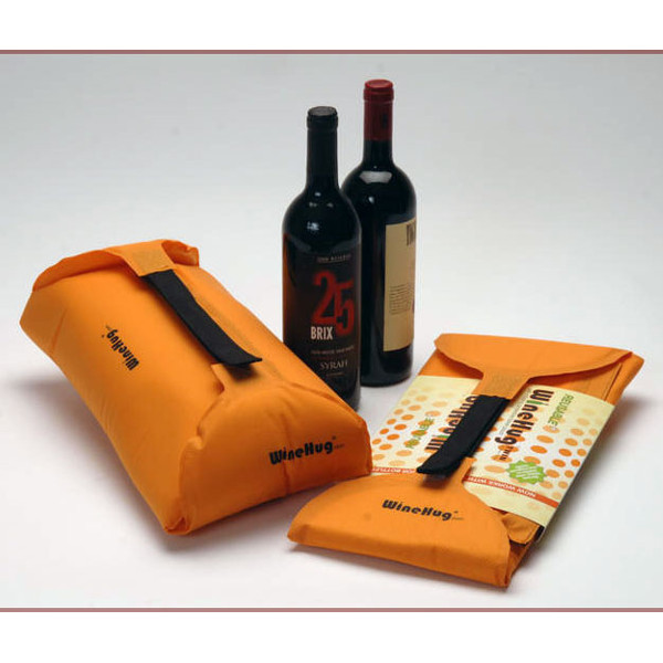 WineHug Twin Self-Inflating Protective Travel Pouch (Orange)