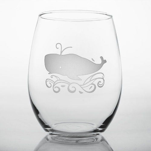 Etched Whale Red Wine Tumblers (set of 4)