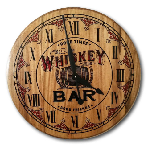Whiskey Bar Barrel Head Clock