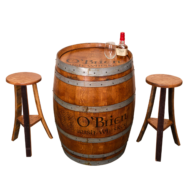 Vintage Whiskey Barrel Irish Pub Table Furniture Set