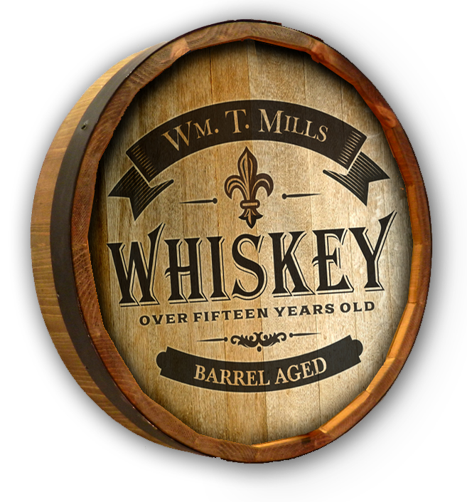 Barrel Age Whiskey Personalized Quarter Barrel Sign
