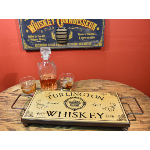 Whiskey Personalized Wood and Wrought Iron Serving Tray