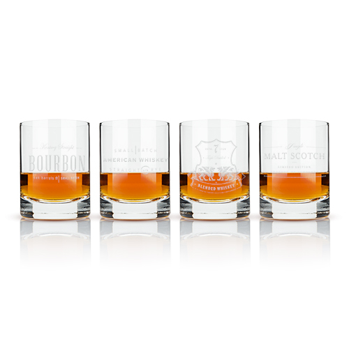 Etched Whiskey Double Old Fashioned Glasses (set of 4)