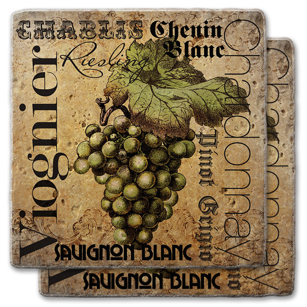White Wines Stone Coasters  (set of 2)