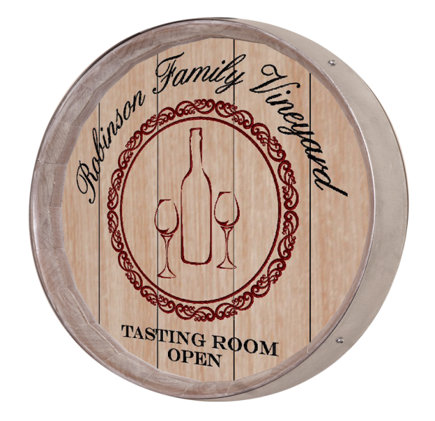 Personalized Wine Bottles Barrel Sign