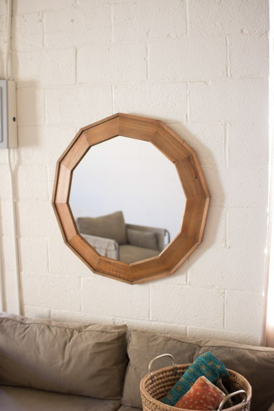 Beveled Wooden Framed Mirror