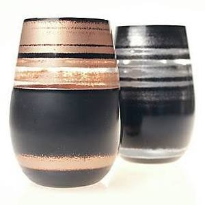 Black & Silver Wine Tumblers (set of 2)