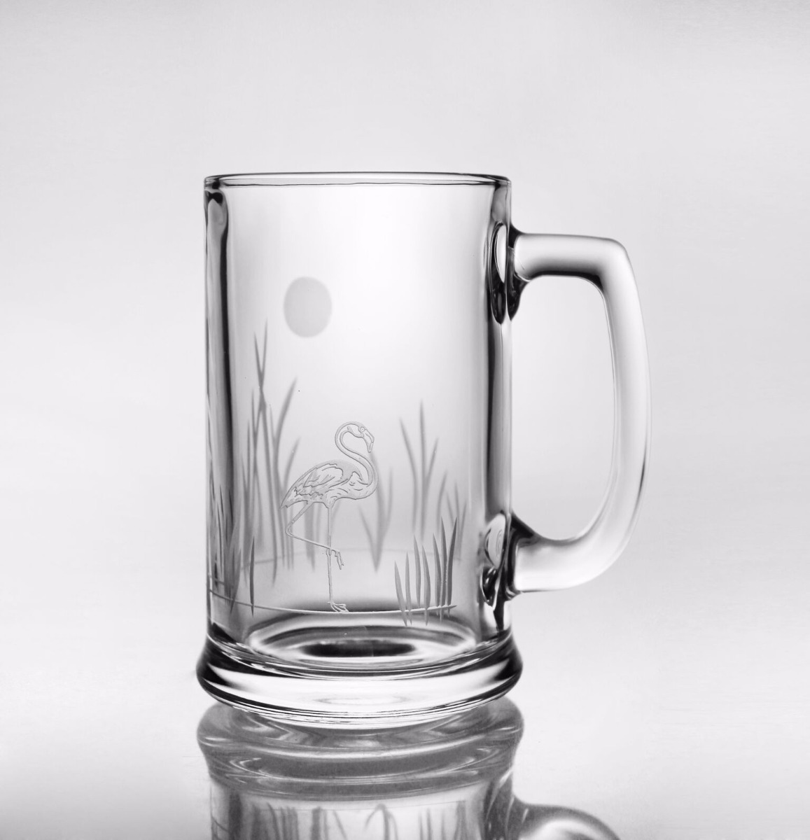 Etched Flamingo Beer Mugs (set of 4)