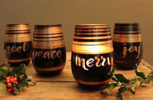 Holiday Cosmo Black & Bronze Wine Tumblers (set of 4)