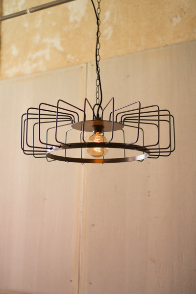 Metal Wire Barrel Pendant Light