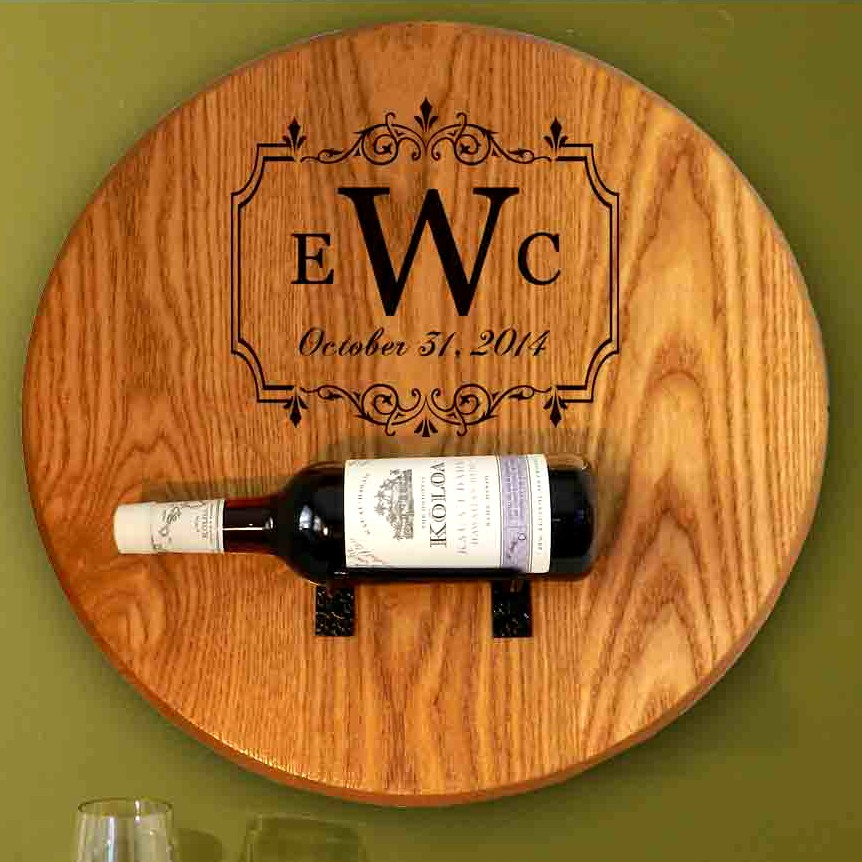 Monogram Barrel Head Wine Bottle Holder