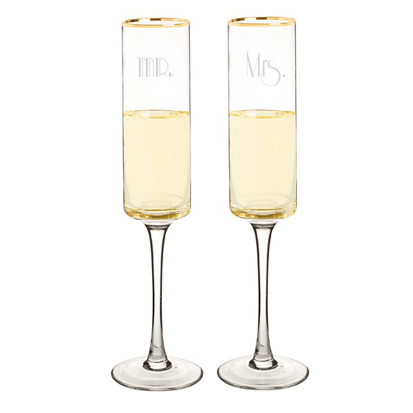 Mr. & Mrs. Gatsby Gold Rimmed Champagne Flutes