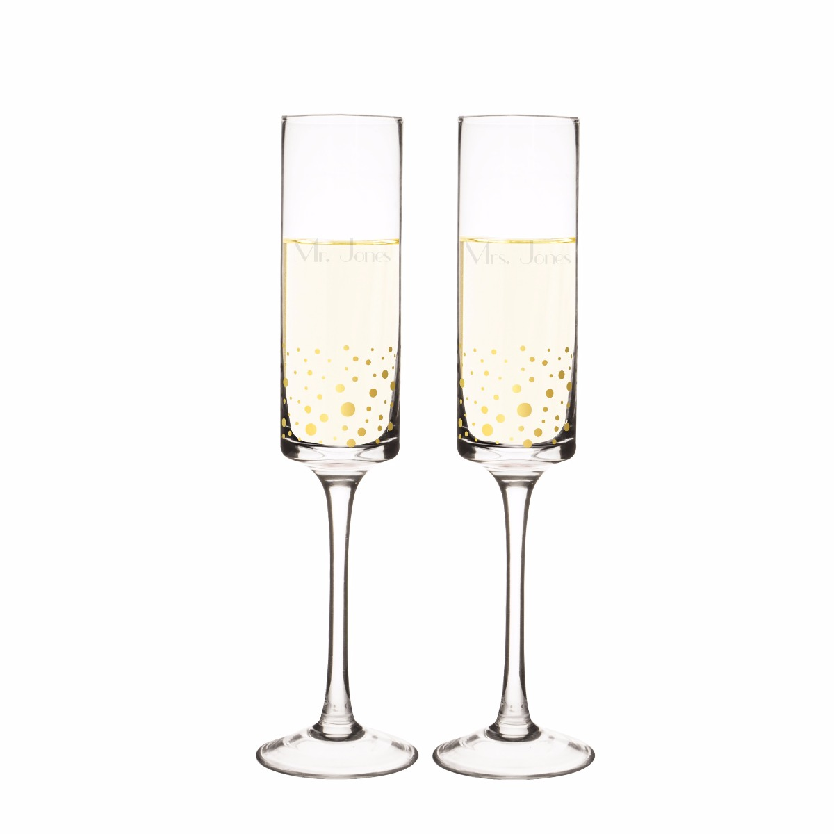 Personalized Gold Dot Champagne Flutes (set of 2)