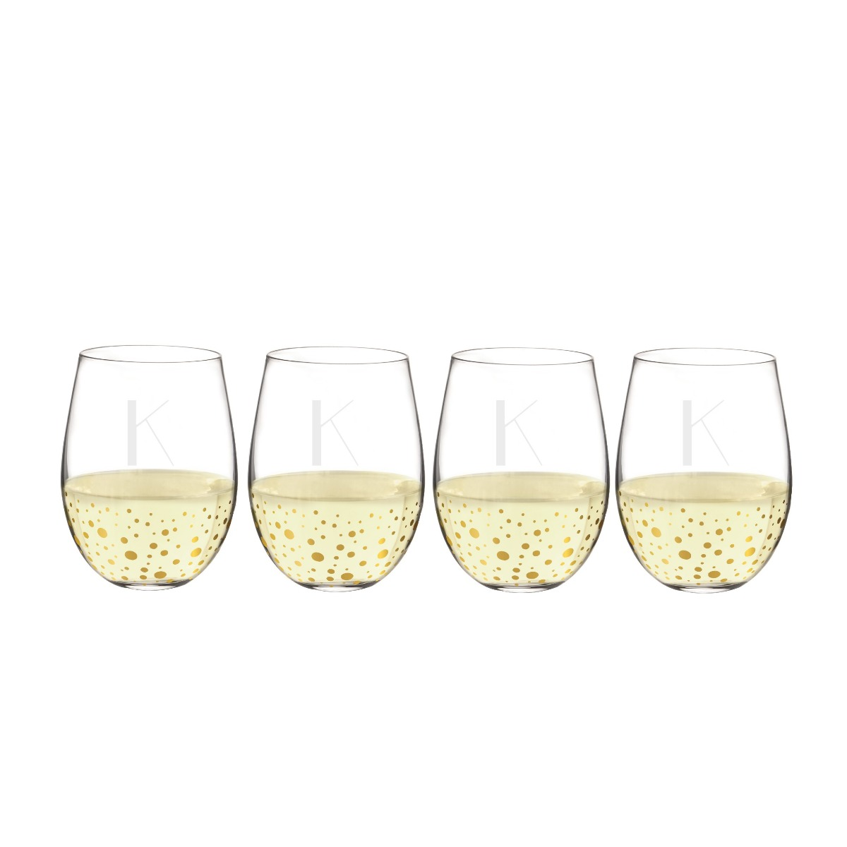 Personalized Gold Dot Stemless Wine Glasses (set of 4)