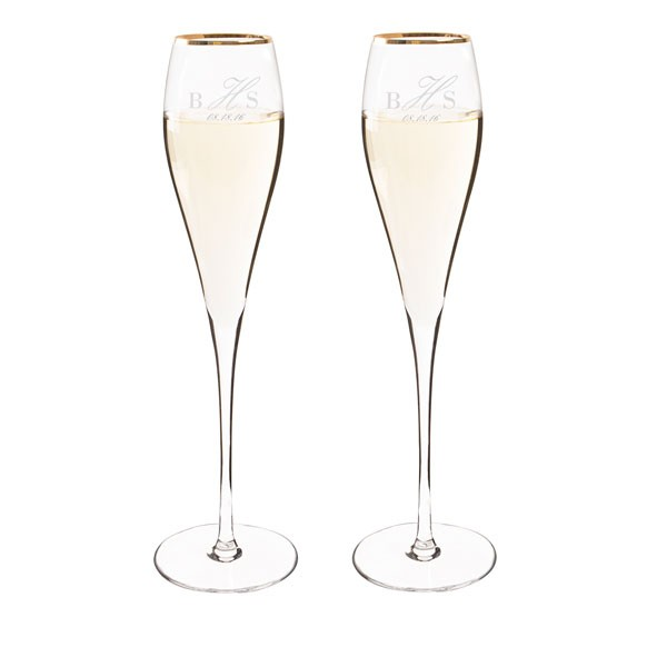 Personalized Gold Rim Champagne Flute Set