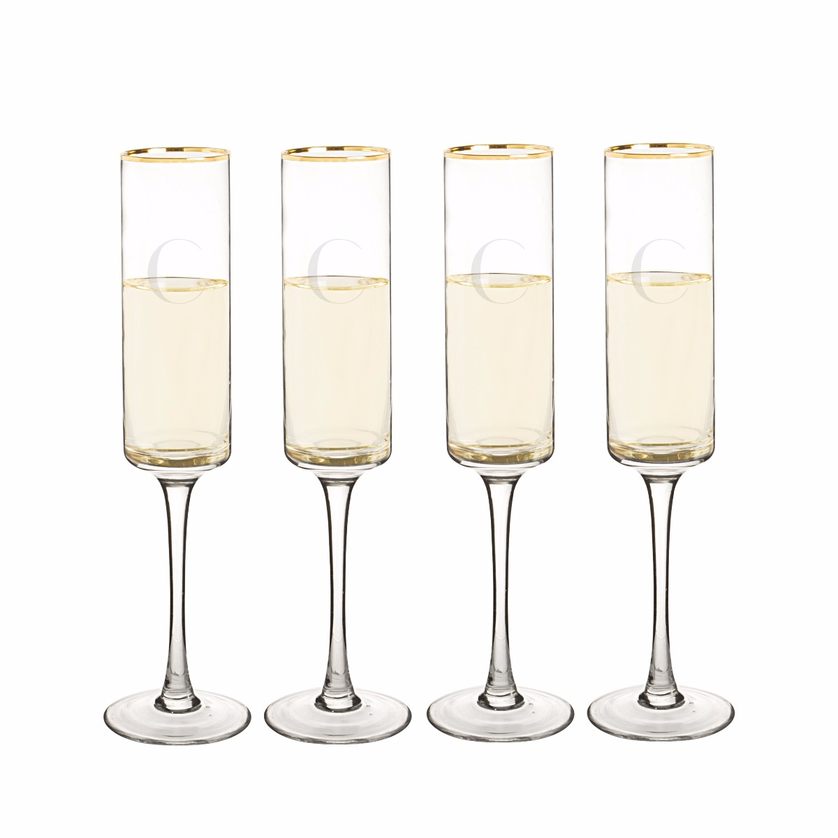 Personalized Gold Rim Champagne Flutes (set of 4)