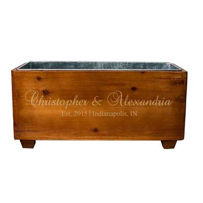 Personalized Rustic Wood Wine Trough Wedding Gift