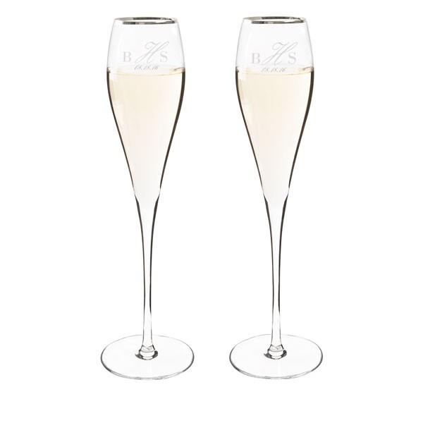 Personalized Silver Rim Champagne Flute Set