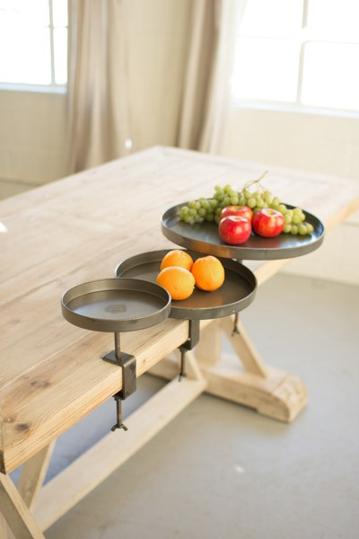 Three Round Metal Display Stands with Clamps