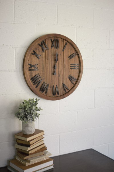 Wooden Clock with Roman Numerals